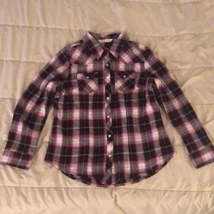 Long Sleeve Button-up Burgundy/Pink Flannel